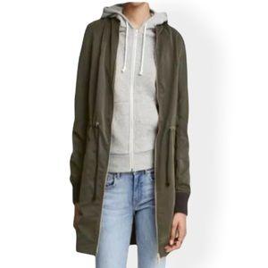 H&M Divided Long Bomber Jacket Zip Up Olive Green